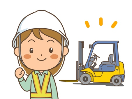Forklift and female workers