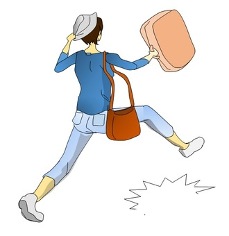 A woman leaving for a trip in a hurry