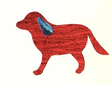 犬 カラーシルエット 赤×青