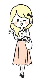 Student girl hand drawn illustration