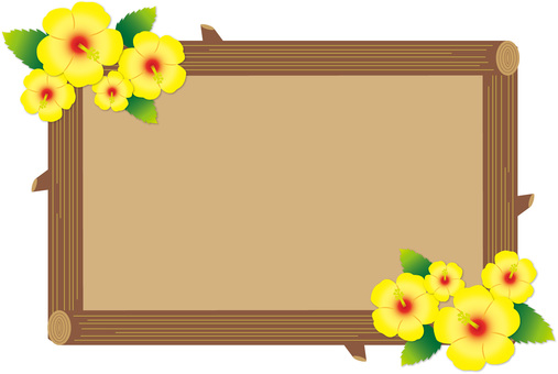 Hibiscus and tree frame 01