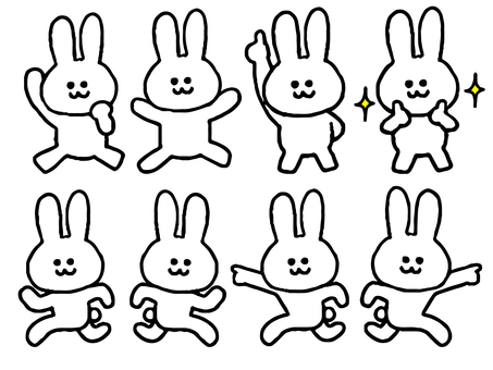 Set of rabbits (animal simple)