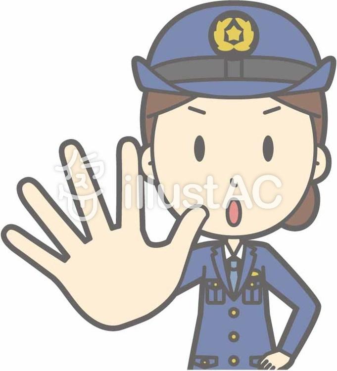 警察官女性a-ダメ-バストのイラスト