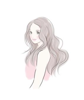 Female long hair wave
