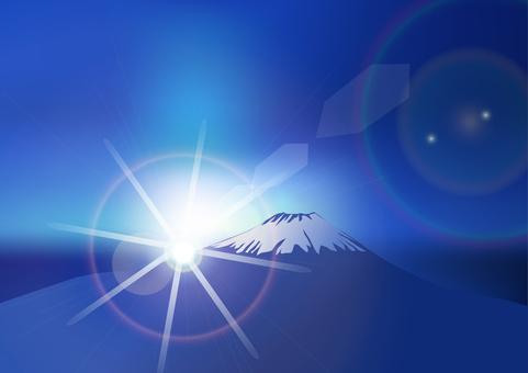 일출의 후지산 - 푸른 아침 놀