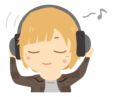 Listening to music with headphones