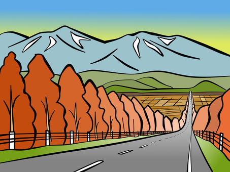 Larch and Tokachidake mountain range