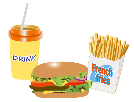 Hamburger and potato, drink set