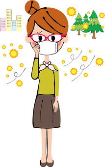 Pollen allergy prevention woman whole body with glasses and gauze mask