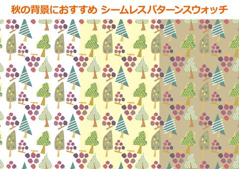 ぶどうと木の秋色の背景素材パターン