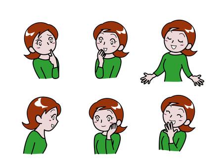 Kadın yüz ifadesi ve poz koleksiyonu (6 desen)