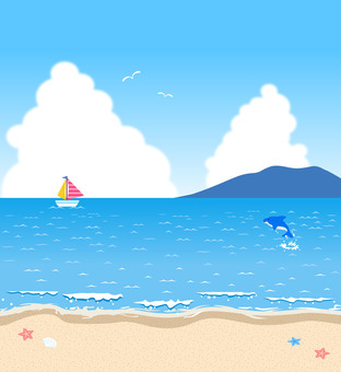 Sea and sky Illustration of summer landscape