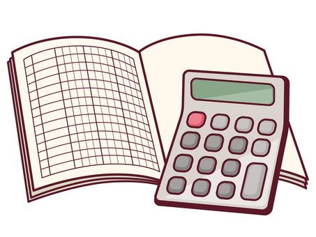 Calculator and books