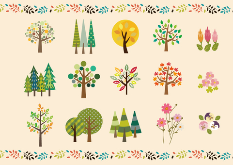 Cute autumn trees · Flower set