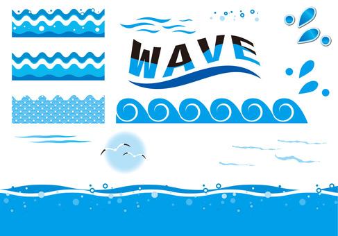 Set of waves and splash