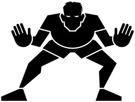Goalkeeper defensive silhouette