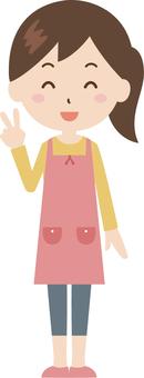 Woman   housewife   apron   piece