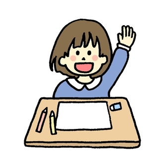 Girl raising hand in school class