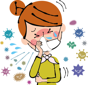 Painful cough runny nose cold flu woman