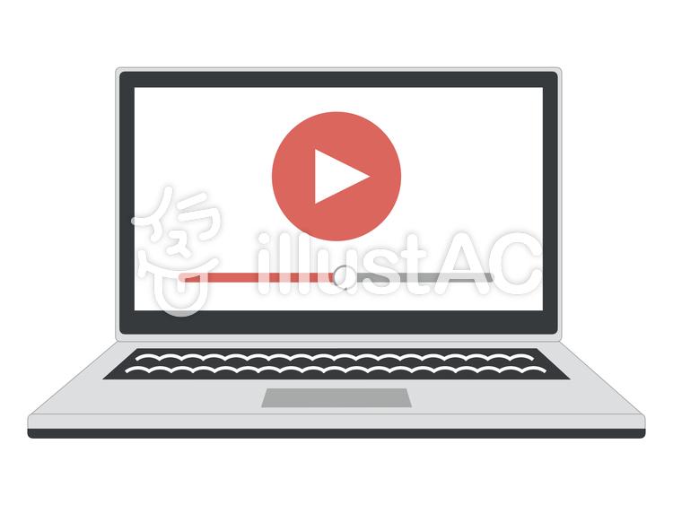 パソコン PC 動画 縁線ありのイラスト