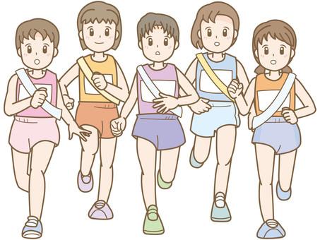Woman C who runs a relay