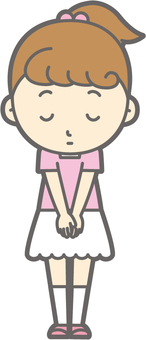 Girls short-sleeved a-bow expressionless - whole body