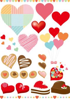 Set de pièces de coeur