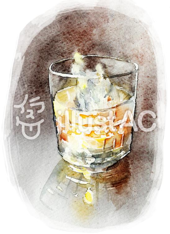 ロックグラス 水彩画のイラスト