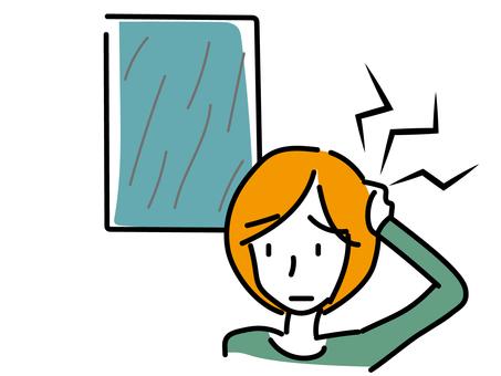 Woman having a headache due to rain