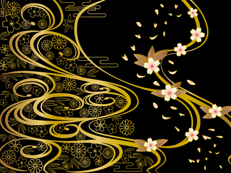 Japanese Pattern Background Black and Gold Wave
