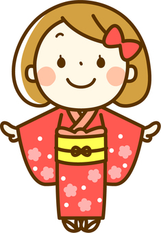 Girls wearing kimonos