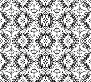 ダマスク織パターン4(黒)