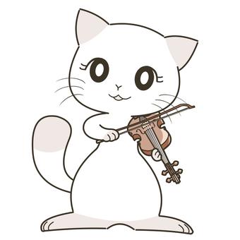 바이올린을 서서 눈을 뜨고 연주 고양이