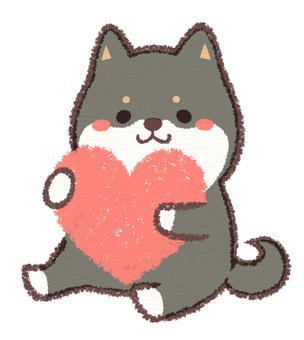 Heart ebony dog