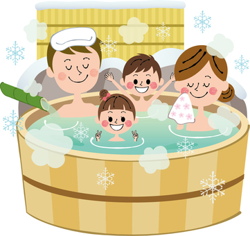 Outdoor bath in winter Family Bath hot spring No background