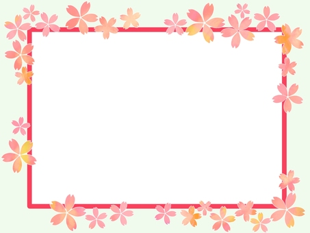 Frame with pink color and cherry blossom