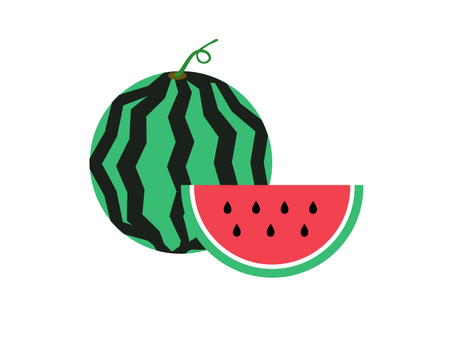 Wholly watermelon and cut watermelon