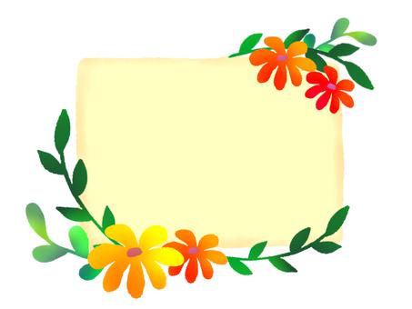 花朵和葉子留言卡