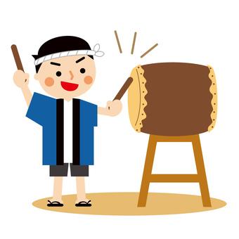 和太鼓を叩く法被姿の男性 イラスト
