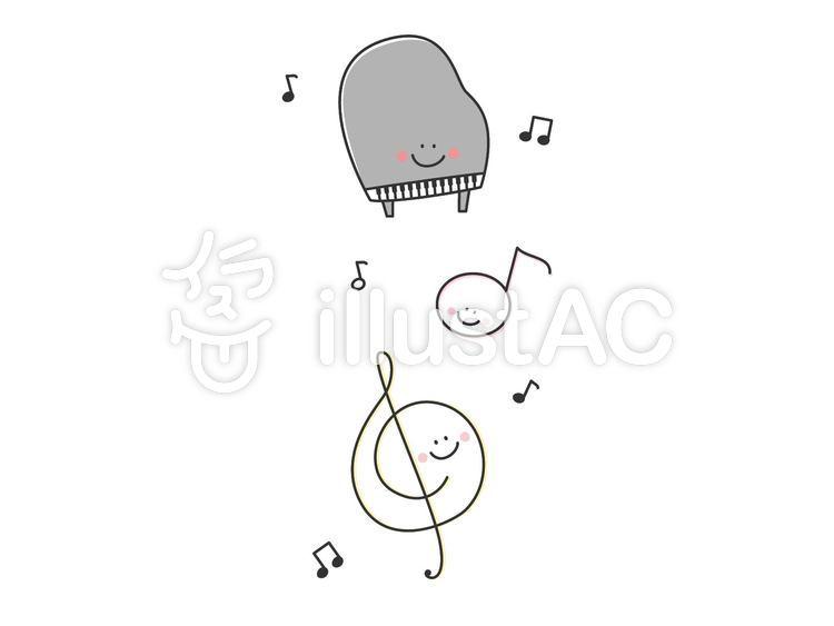 ピアノと音符のかわいい無料イラストイラスト No 1242296無料