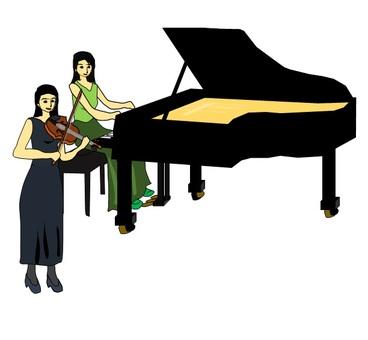 여성 피아니스트와 바이올리니스트의 공연
