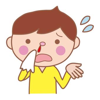 Boy with nosebleed