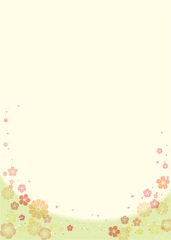 Japanese-style background green (plum, chrysanthemum) vertical