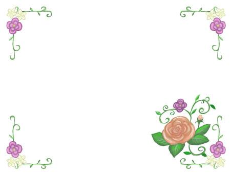 Retro rose frame background transparent