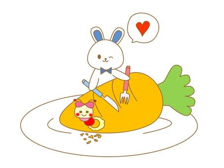 Rabbit to eat carrots