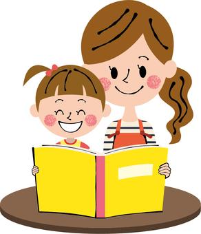 Parents and Child Girls Reading Desk Burned Tea Smile