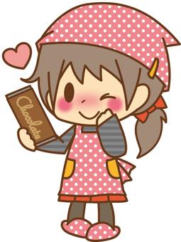 Girls * making chocolate