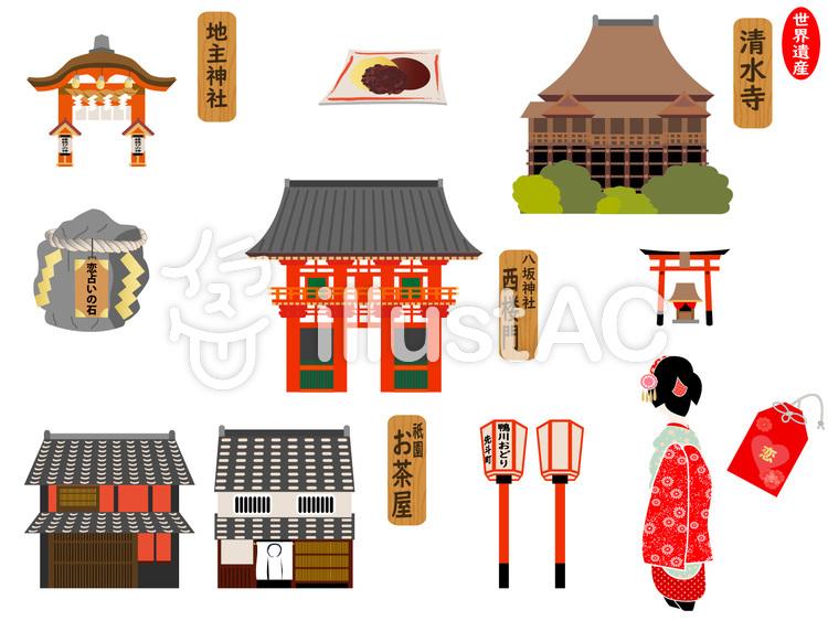 京都の観光地 ⑧祇園周辺のイラスト