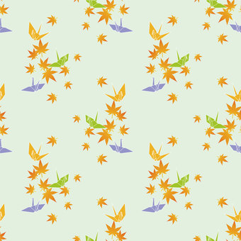 Folding crane and autumn leaves wallpaper (green type)