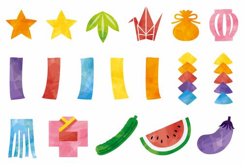 Set of Tanabata decorations